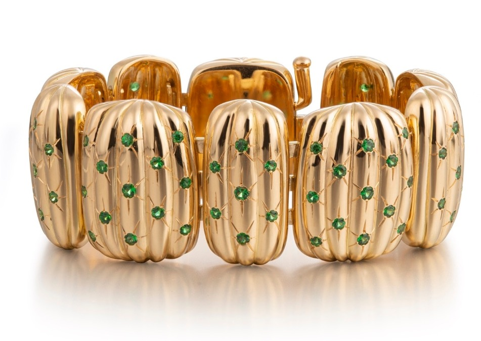Texan Cactus bracelet in 18k yellow gold has 137.2 grams of gold with 4.22 cts. t.w. tsavorites, $32,800; email info@corasheibani.com for purchase