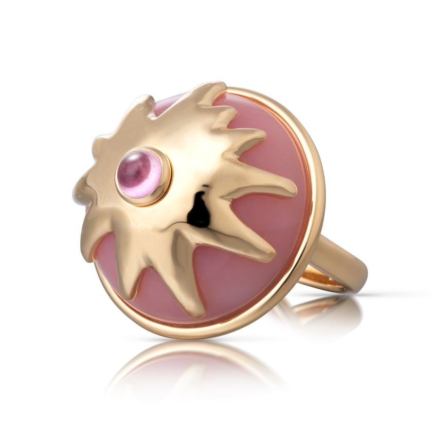 Pudding ring* in 18k rose gold with 20.65 cts. t.w. of pink opal and pink sapphire, $8,900; email info@corasheibani.com for purchase