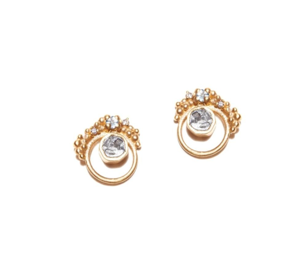 Julia studs in 18k gold vermeil with uncut diamonds, aquamarine, and silver resin, $188; available online at Shana Gulati