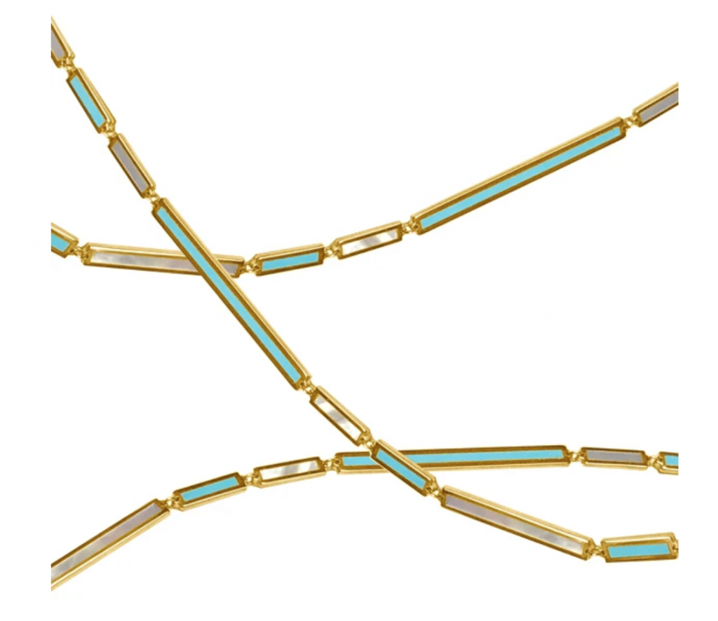 La Beauté inlay chain in 18k yellow gold with alternating turquoise and mother-of-pearl inlay in varying lengths of rectangular links (each link is 3 mm. wide and a mix of 9 mm., 20 mm., and 31 mm.), $1,369; available online at Delphine Leymarie