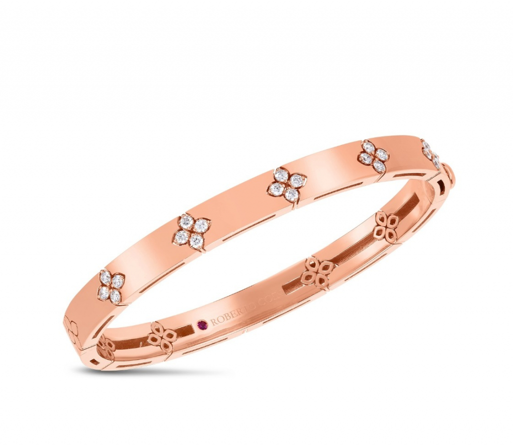 Love in Verona medium-size bangle bracelet in 18k rose gold with 0.45 cts. t.w. diamonds, $6,950; available online at Roberto Coin