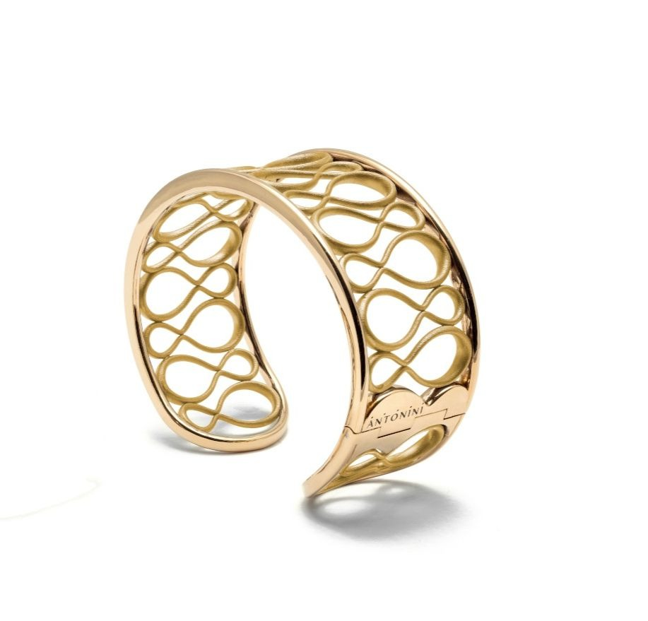Anniversary 100 cuff bracelet in 18k gold, $17,890; email tatiana.tonizzo@antonini.it for purchase