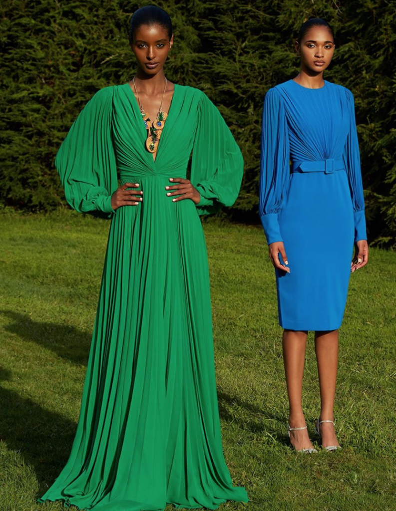 Bright blue and emerald green were widespread in Badgley Mischka's new collection.