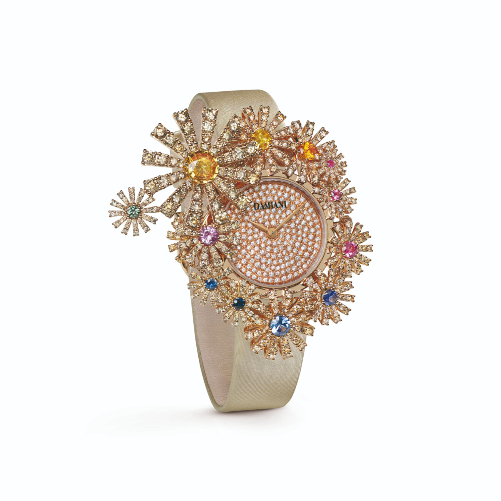 Margherita Secret watch in 18k rose gold with morganite, multicolor sapphires, and brown diamonds, €55,000; email giancarlo.parolini@damiani.com for purchase