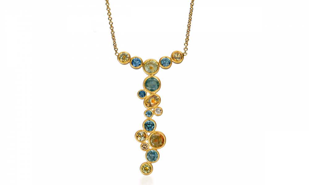 Y necklace in 18k yellow gold with 8 cts. t.w. unheated, bicolor Montana sapphires, $8,825; email Diana@dianawidman.com for purchase