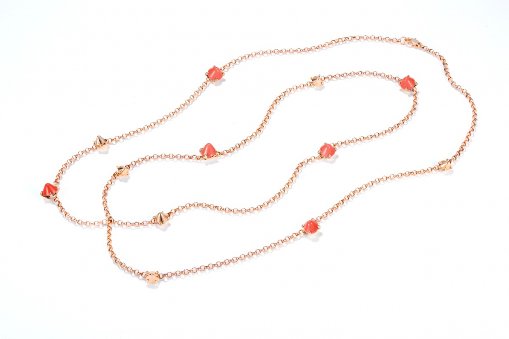 Ever necklace in 18k gold with coral, $5,600; email annalisa.dasilva@mattioli.it for purchase