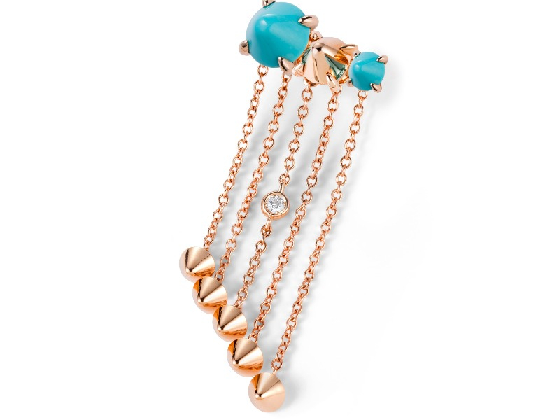 Ever earrings in 18k gold with turquoise, $2,040; email annalisa.dasilva@mattioli.it for purchase