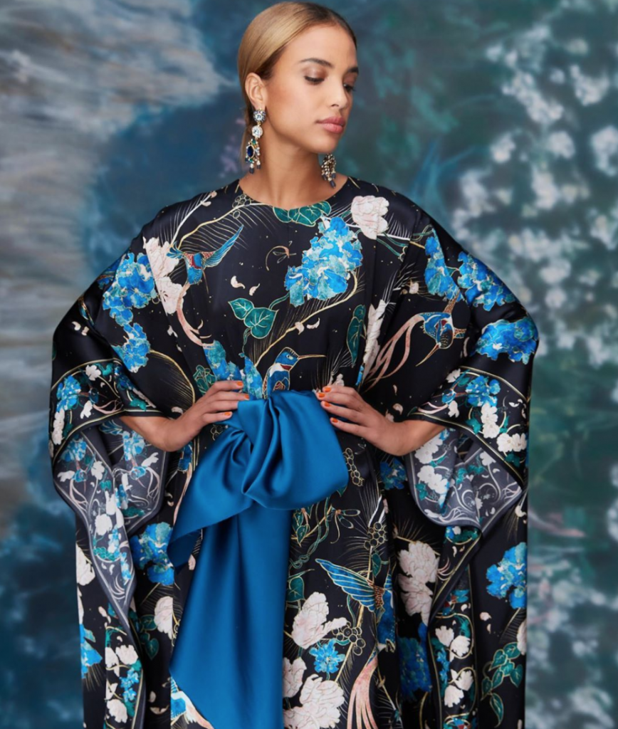 Marchesa's caftan is pure glamour.