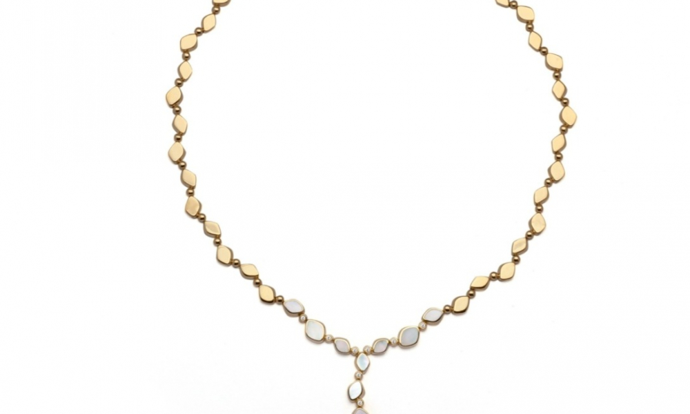 Pebbles Y necklace in 18k gold 18K gold with Mother of Pearl, $14,000; email massimo@sobeluxury.net for purchase