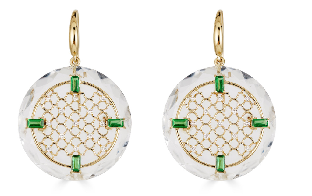Drop earrings in 14k yellow gold with colorless rock crystal with lattice effects, 1.23 cts. t.w. tsavorite, and 0.31 ct. t.w. diamonds, $3,565; email ShaillJewelry@gmail.com for purchase
