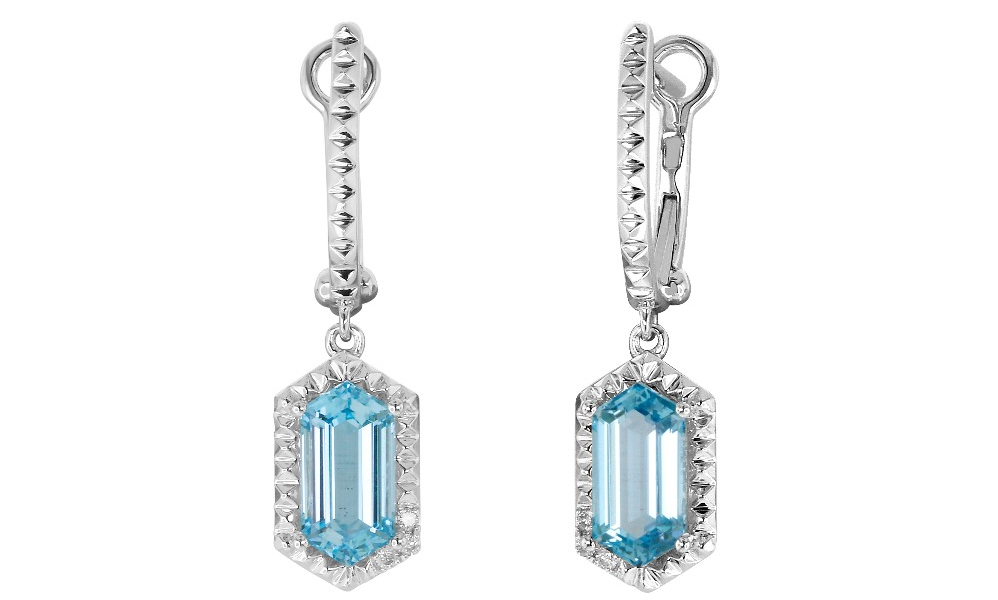 Earrings in 14k white gold with 3.53 cts. t.w. blue topaz and 0.05 ct. t.w. diamonds, $1,590; email randy@yaeldesigns.com for purchase