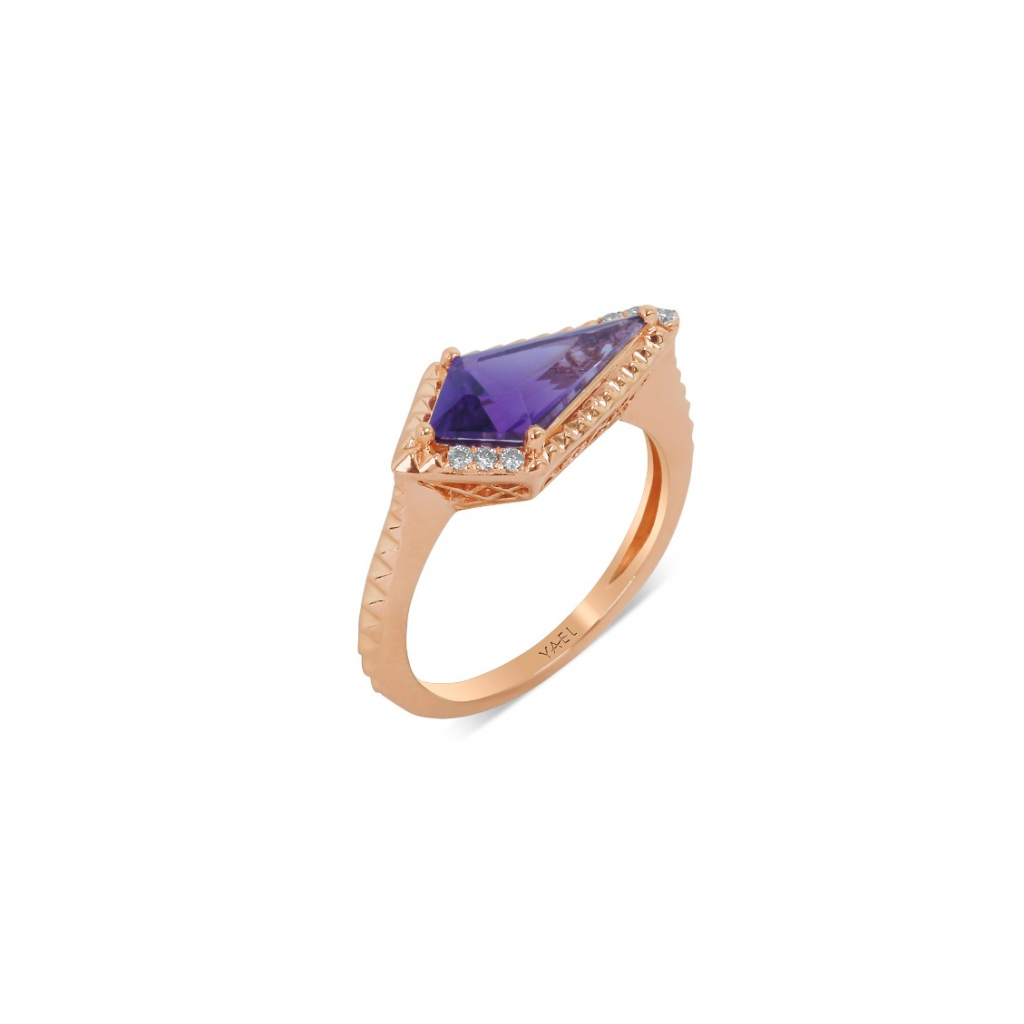 Ring in 14k rose gold with a 1.37 ct. kite-shape amethyst and 0.05 ct. t.w. diamonds, $1,122; email randy@yaeldesigns.com for purchase