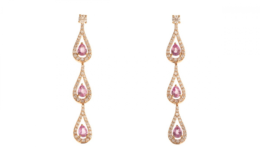 Era collection drop earrings in 18k rose gold with 1.16 cts. t.w. pink sapphires and 0.97 ct. t.w. diamonds, $5,760; available online at Gismondi 1754