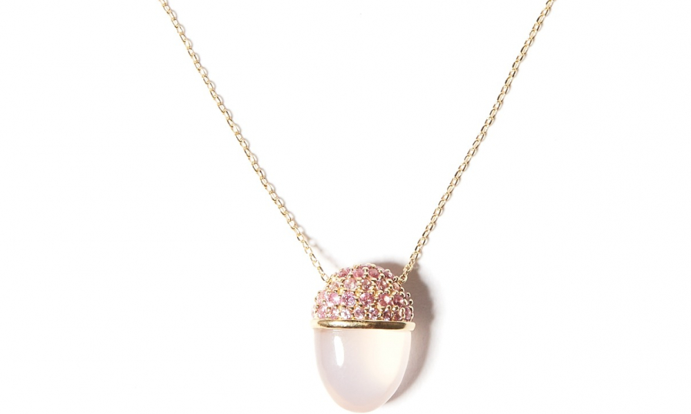 Found Cap pendant necklace in 14k rose gold with 0.70 ct. t.w. rose quartz and pink sapphire, $1,830; available online at Campbell and Charlotte