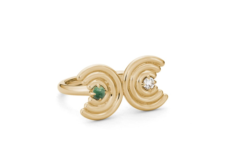Double Revival ring in 14k yellow gold with jadeite jade and 0.1 ct. t.w. diamonds, $2,530; available online at Park Ford Jewelry