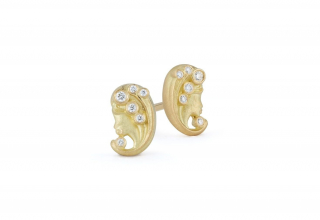 Virgo Zodiac stud earrings in 18k yellow gold with 0.07 cts. t.w., $1,850; wendy@jadetrau.com for purchase