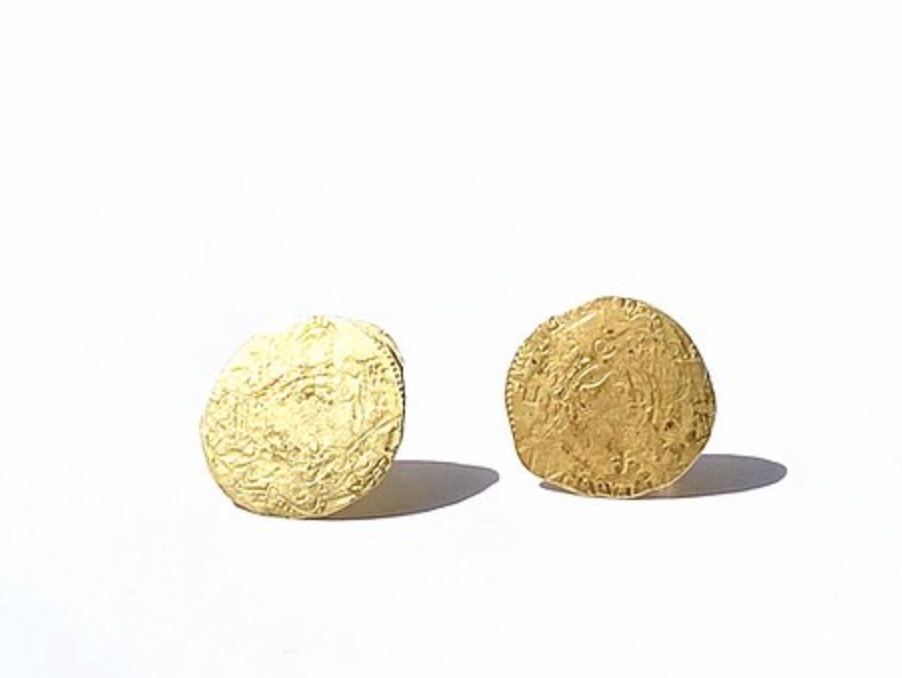 Ancient Coin stud earrings in 18k yellow gold, £1,050; available online at Nina Bukvic