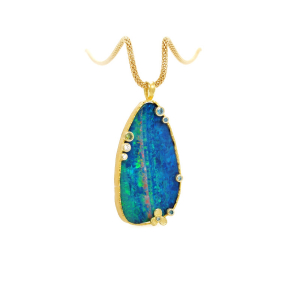 Large pendant necklace in 18k yellow gold with a 35 x 18.5mm opal doublet and 0.175 cts. t.w. multicolor diamonds, $6,200; available online at Barbara Heinrich