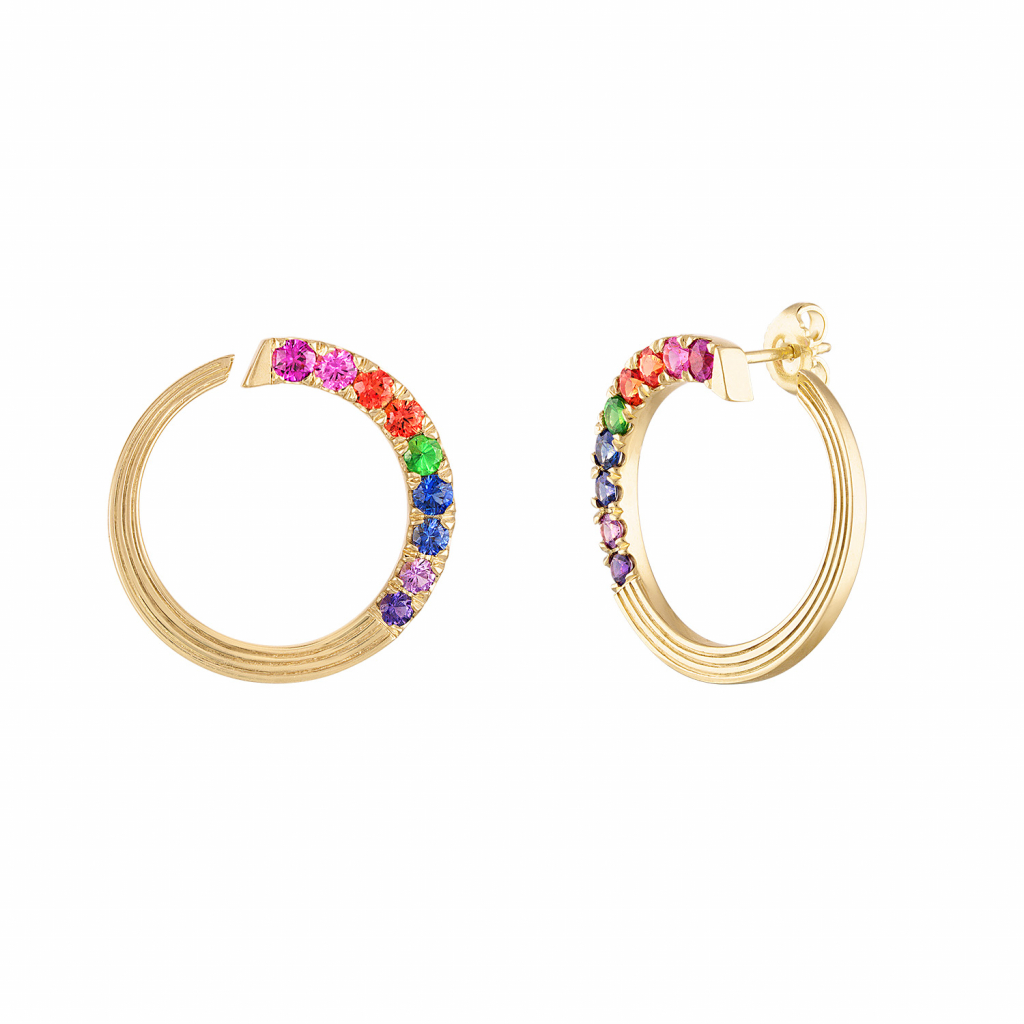 Portofino side-set hoop earrings in 18k yellow gold with 1.84 cts. t.w. colored sapphires and tsavorite garnets, $5,850; available online at Gigi Ferranti