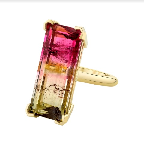 Ring in 18k yellow gold with a bicolor tourmaline, by Emily P. Wheeler, $8,400; available online at Emily P. Wheeler