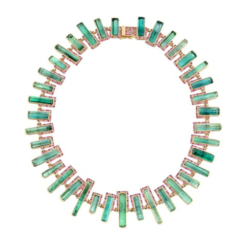 Necklace in 18k yellow gold with 127.91 cts. t.w. rough tourmaline crystals and 7.69 cts. t.w. sapphires, by Emily P. Wheeler, price on request; available online at Emily P. Wheeler