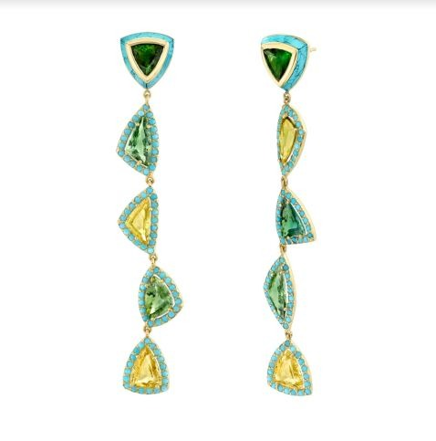 Moss earrings in 18k yellow gold with 12.46 cts. of yellow and green rose-cut sapphires, hand-carved turquoise, faceted turquoise melee, and green tourmaline, by Emily P. Wheeler, $14,000; available online at Emily P. Wheeler