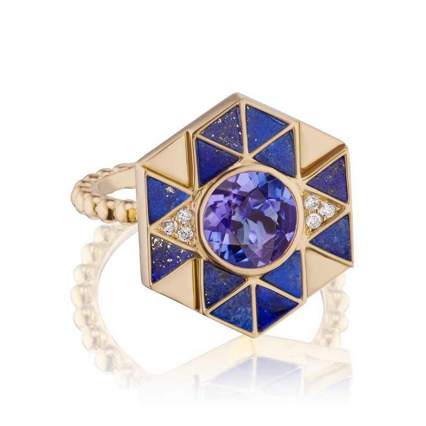 Jewelry Designer: Evil Eye Inlay ring in 18k yellow gold with lapis and tanzanite, $3,300; available online at Harwell Godfrey