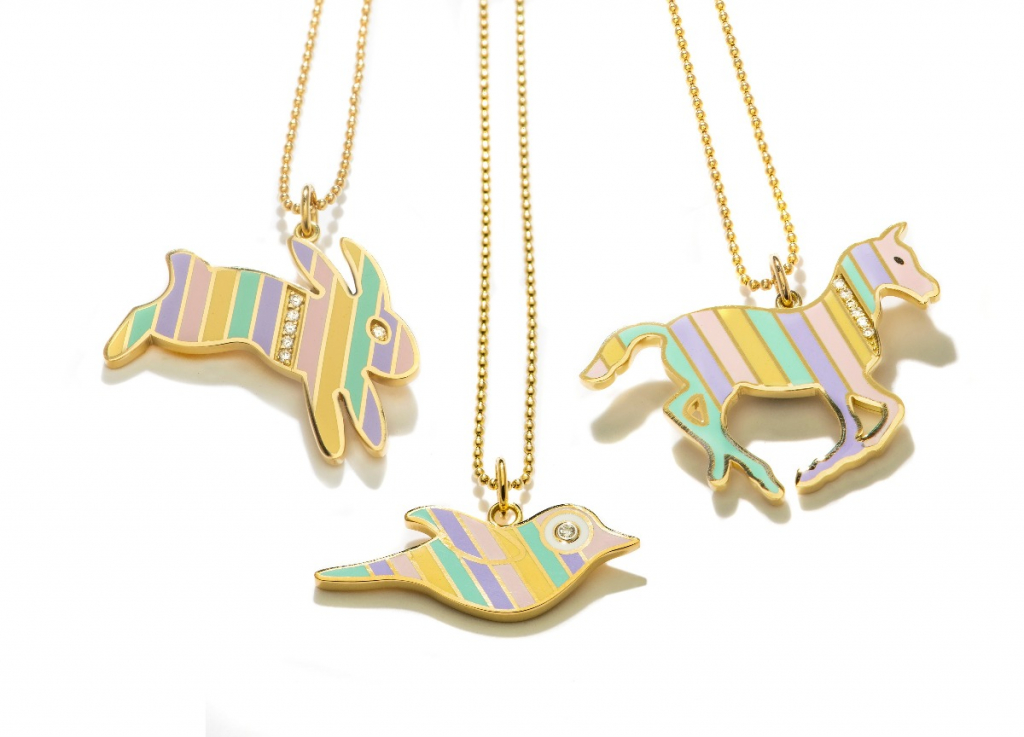 Rainbow collection Bird, Bunny, and Pony pendant necklaces in 18k yellow gold with champlevé enamel stripes and 0.03 ct. t.w. diamonds on a 14k yellow gold chain by Kristin Ohmstede; retail prices start at $3,100; email ko@kristinohmstede.com for purchase