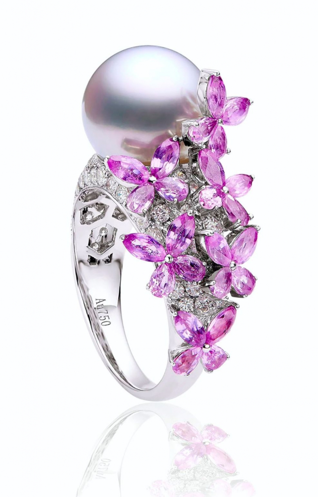 Award-winning Dancing Butterflies ring in 18k white gold with a white South Sea pearl, 2.30 cts. t.w. pink sapphires, and 1.20 cts. t.w. diamonds, $5,000; available for order at Kyllonen Luxury