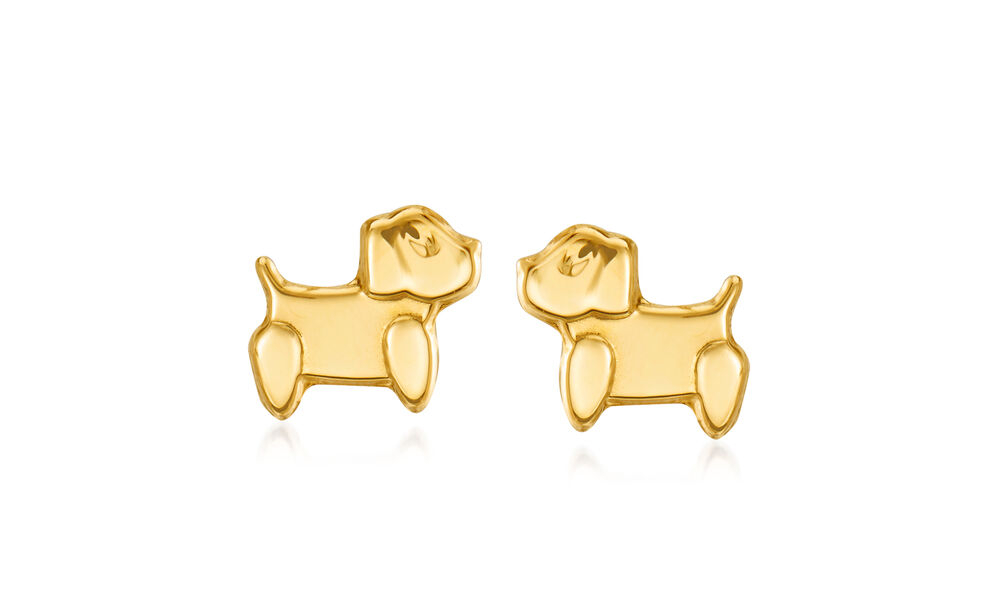 A pair of 14k gold puppy dog earrings gifted to Ria from a family friend. Ria is eager to wear these!
