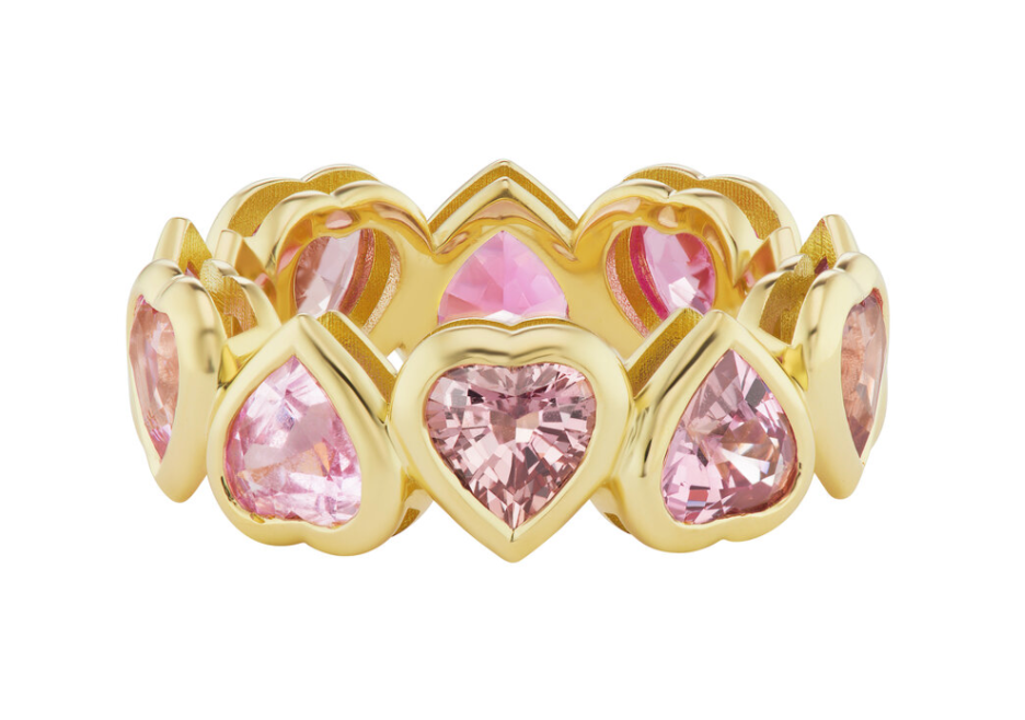 For Eternity band in 18k gold with 5.87 cts. t.w. heart-shape ombre pink, violet, and gray sapphires, $8,900; available online at Emily P. Wheeler