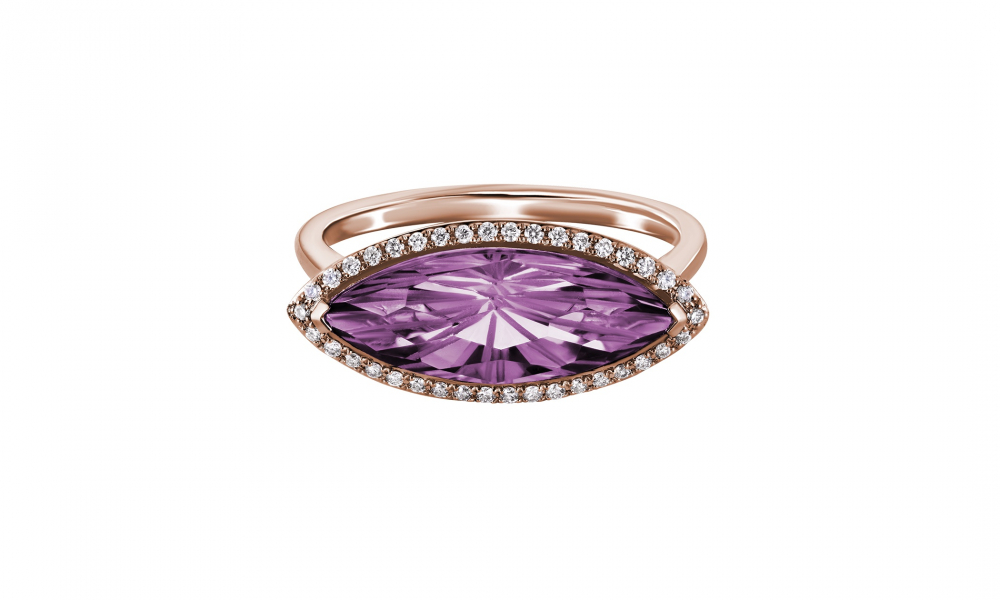 Sunburst Collection ring in 14k rose gold with a 2.40 ct. t.w. marquise-shape amethyst and 0.10 ct. t.w. diamonds, $880; Artistry, available online at Artistry