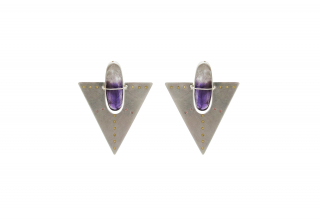 Triangle earrings in sterling silver with plique-a-jour enamel and amethyst, $870; available online at Hilary Finck Jewelry