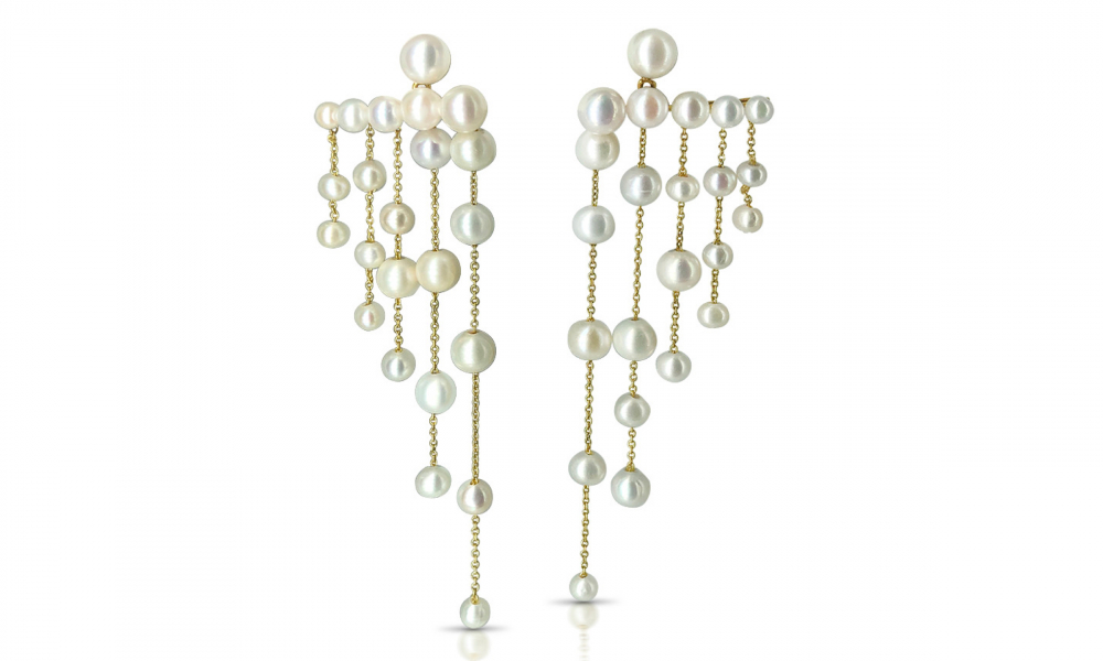 Diana chandelier earrings in 14k yellow gold with cultured white freshwater pearls, $1,060; available online at LexiMazz Designs
