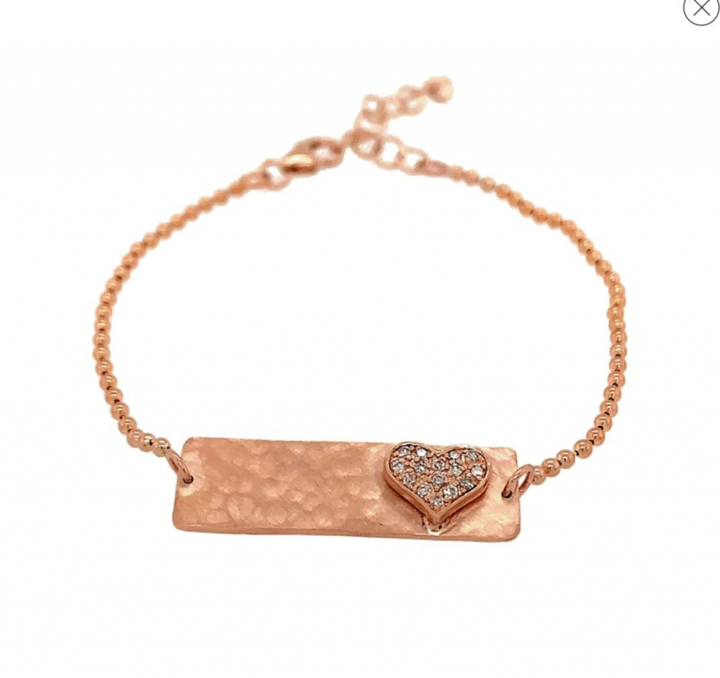 Lizz rectangular bracelet in 14k rose gold with a heart motif and 0.11 ct. t.w. diamonds, $1,998; available online at Julez Bryant