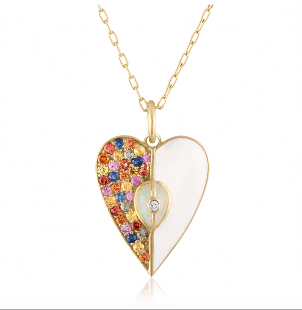 Heart pendant (chain sold separately) in 14k yellow gold with enamel, 0.83 ct. t.w. multicolor sapphires, and 0.015 ct. t.w. diamonds, $1,550; available online at LoriAnn Jewelry