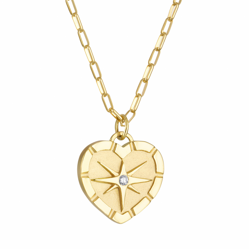 Eight Point Heart pendant necklace in 18k yellow gold with a 0.06 ct. diamond, $4,150; available online at Pamela Zamore