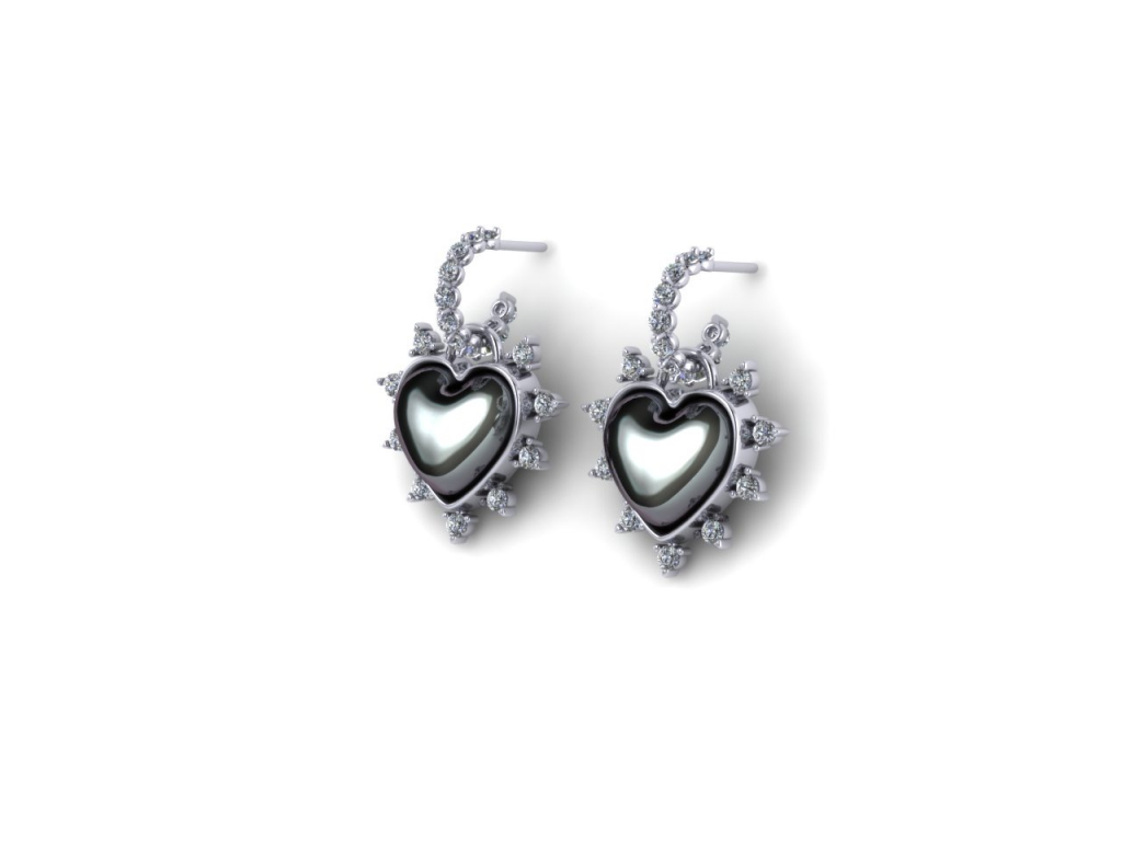 Diamond and Australian South Sea Mabe pearl earrings by Alexis Mazza of LexiMazz Designs