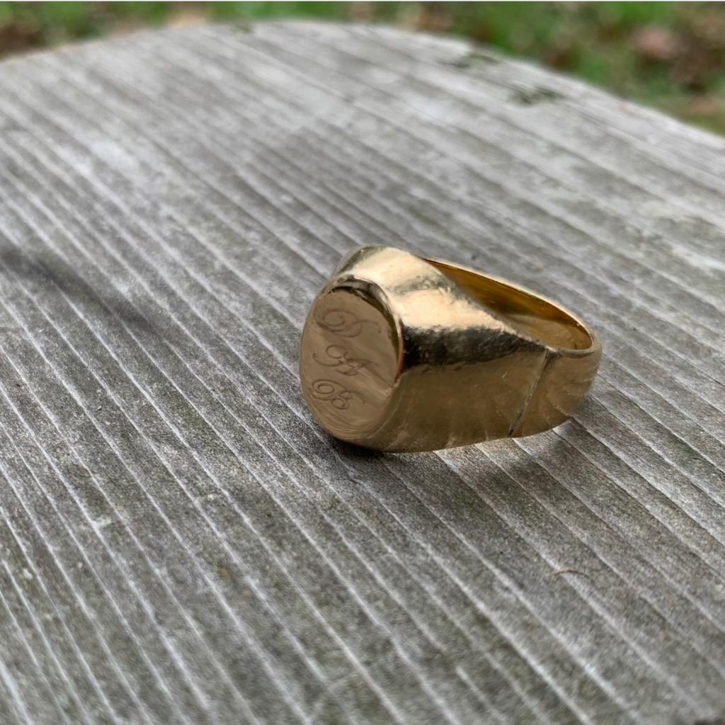 The karat-gold signet ring given to Sister Dorothy by her brother when she received her doctorate in education degree.
