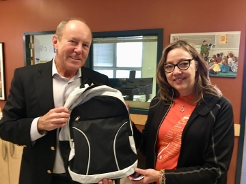 Glad to donate new backpacks full of school supplies to St. Alphonsus School. A big thanks to Telus to help make this happen - September 28, 2018