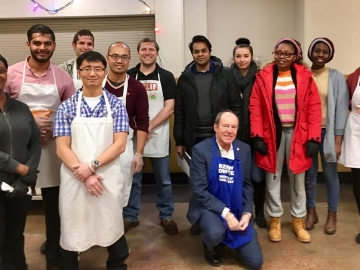 Happy to join these people (including employees from PCL Edmonton) volunteering by serving a meal at Hope Mission - December 19, 2018