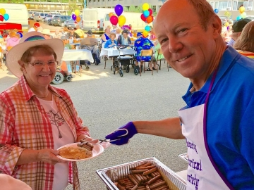 Serving at the Beverly Business Association's annual Pancake Breakfast - July 27, 2017
