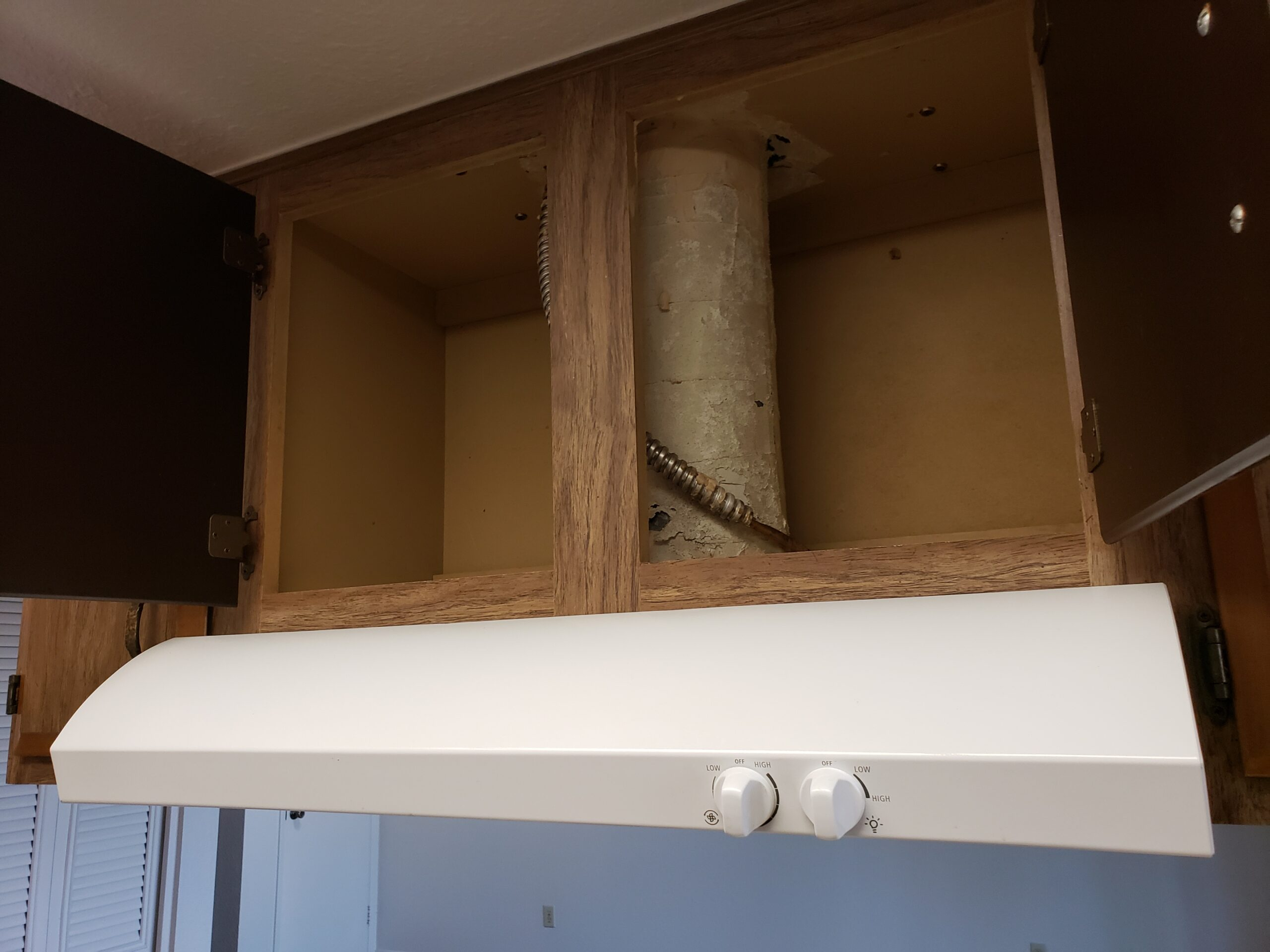 Cooking vent is leaking into cabinet above