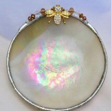 Cream iridescent gold jeweled bee