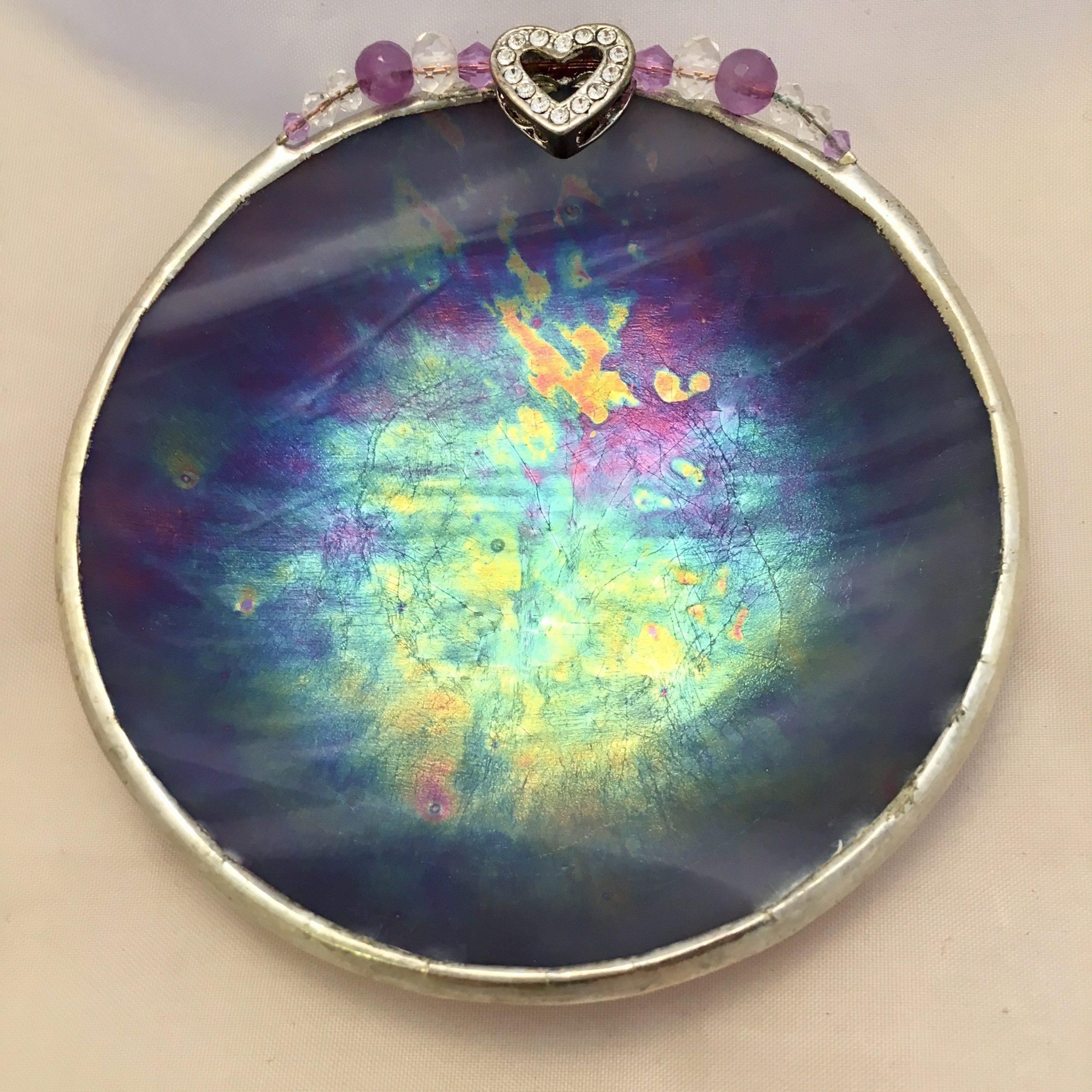 Purple iridescent jeweled heart
