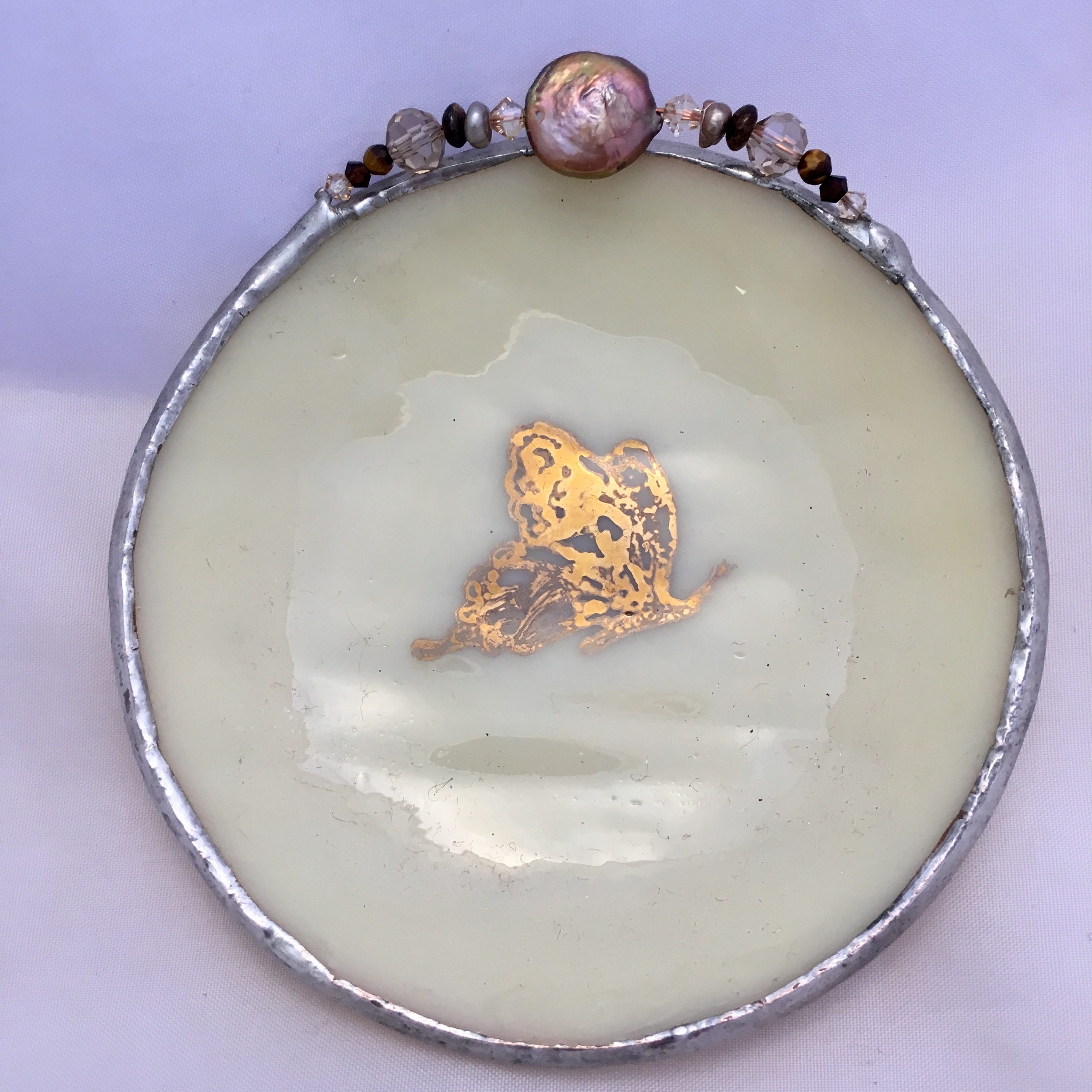 White gold etched butterfly