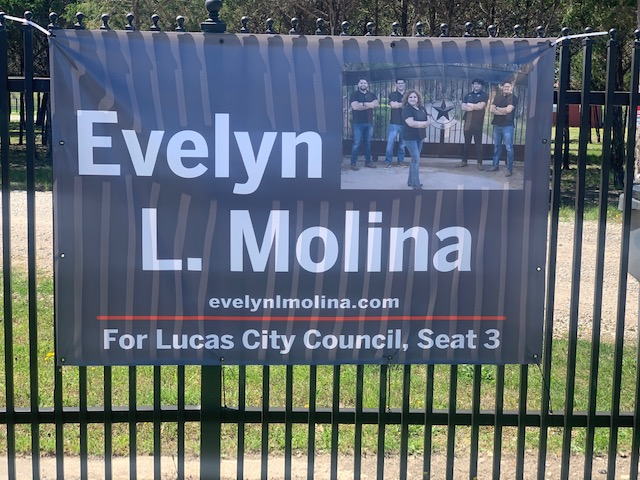 Evelyn L. Molina for Lucas City Council banner
