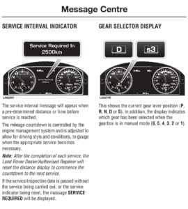 2010 Range Rover Owners Manual Service Interval Info