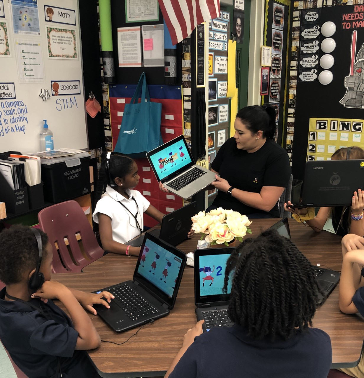 elementary students discuss flocabulary lessons as part of small group instruction