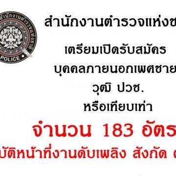 สำนักงานตำรวจแห่งชาติ เตรียมเปิดรับสมัครบุคคลภายนอกเพศชาย วุฒิ ปวช. หรือเทียบเท่า จำนวน 183 อัตรา